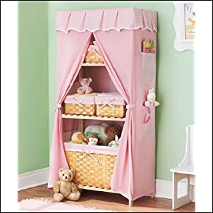 Covered Nursery Storage Unit & 6 Baskets - Pink - COMPLETE SET