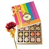 Valentine Chocholik's Belgium Chocolates - Exquisite White Truffles Box With 24k Red Gold Rose