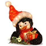 National Tree Tinsel Penguin Holding Gift, 18-Inch, Pre-Lit with 35 Clear Outdoor Lights