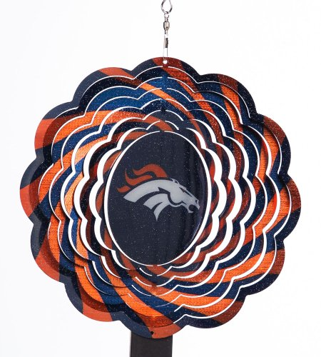 Denver Broncos Geo Spinner Home Garden Decor Wind Wheels Spinners