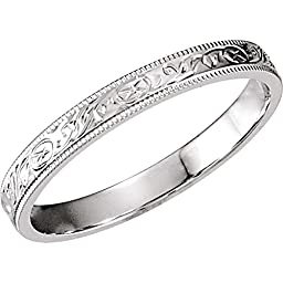 Hand Engraved Wedding Band Ring in 14k White Gold ( Size 5 )