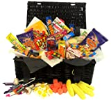 Retro Sweet Shop Gift Black Hamper by Chewbz, filled with 25 types of classic sweetshop retro sweets including Flying Saucers, Drumsticks and Refreshers. Weighing in at a whooping 2 kilds, this Sweet Hamper is fantastic value and a perfect present for re