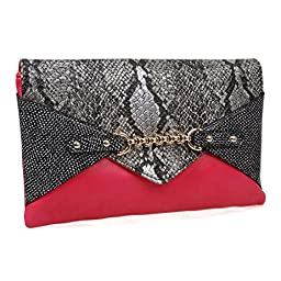 BMC Chic Faux Leather Multicolor Snakeskin Print Chain Accented Lipstick Pink Envelope Style Statement Clutch