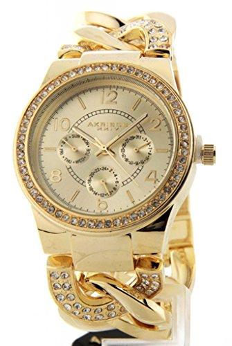 Ak558Yg Women'S Akribos Day Date Gmt Twist Chain Crystal Watch