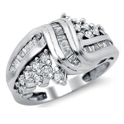 .90Ct Round Baguette Diamond Band Ring 14K White Gold