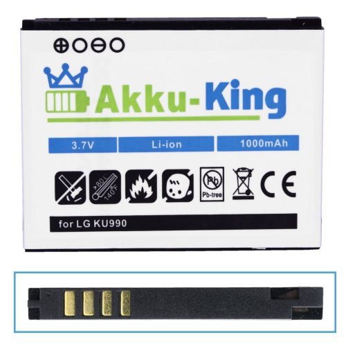 Akku-King Akku für LG Arena KM900, Viewty KU990, Renoir KC910, Maize KB770, HB620T, U990i - ersetzt LGIP-580A - Li-Ion 1000mAh