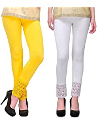 Women's Cotton Viscose Yellow & White Plazzo Legging Free Size