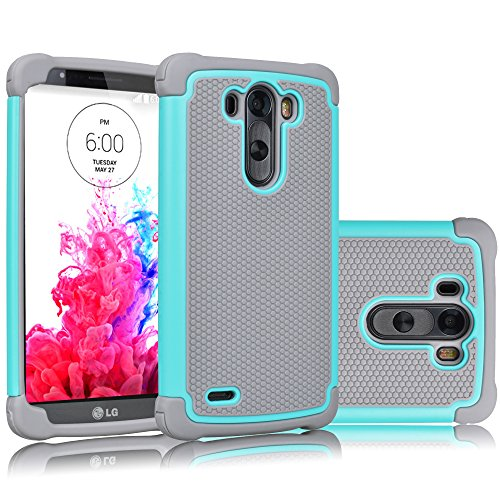 LG G3 Case, Tekcoo(TM) [Tmajor Series] [Turquoise/Grey] Shock Absorbing Hybrid Rubber Plastic Impact Defender Rugged Slim Hard Case Cover Shell Skin For LG G3 AT&T T-mobile Sprint Verizon Unlocked (Lg G3 Rubber Case compare prices)