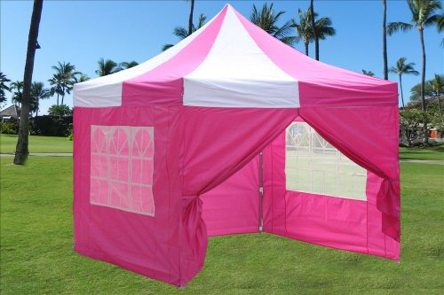 10'X10' Pop Up 4 Wall Canopy Party Tent Gazebo Ez Pink White - E Model By Delta Canopies front-1040600