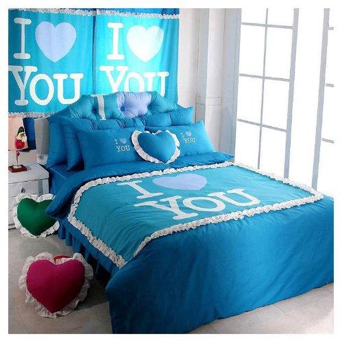 Blue Korean Bedding Princess Ruffle Duvet Cover Comforter Set Rustic Twin Bed Skirt In A Bag 4Pcs front-30332
