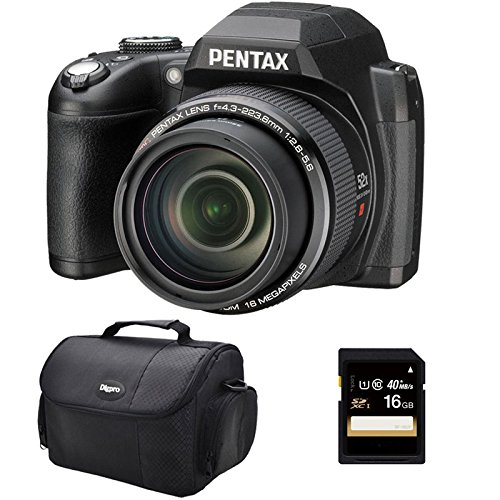 Ricoh Pentax Xg-1 (Black) Digital Camera 16Gb Bundle Includes Xg-1 16Mp 3-Inch Lcd 52X Megazoom Digital Camera - Black, Compact Deluxe Gadget Bag, And 16Gb Secure Digital Sd Memory Card
