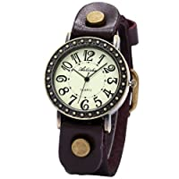 Ailisha Bronze Case Brown Genuine Leather Strap Lady Bracelet Bangle Wrist Quartz Watch WAA429