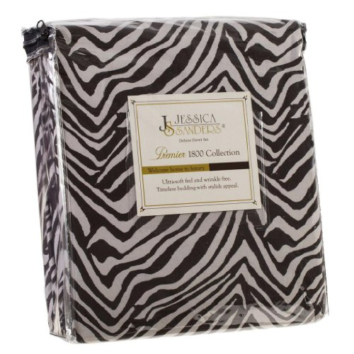 Authentic Jessica Sanders 1800 Series 4Pc Bed Sheet Set - King Size, - Zebra, Black