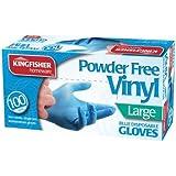 Nouveauté : lot de 100 gants jetables vinyle non poudrés taille L Bleu