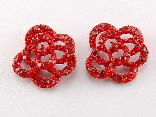 Fire Scarlet Neon Red Enchanted Rose Flower Ice Crystal Rhinestone Stud Earrings