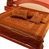 Little India Traditional Hand Embroidery Silk 5 Piece Double Bedding Set - Brown  (DLI3SLK203)