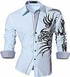 Jeansian Men's Slim Fit Long Sleeves Casual Shirts Z001 LightBlue L