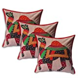 Handmade Throw Pillow Case Camel Patchwork Set of 3 Embroidered Cotton Cushion Covers from Indiaby DakshCraft
