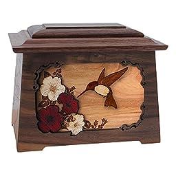 Wood Cremation Urn - Walnut Hummingbird Astoria