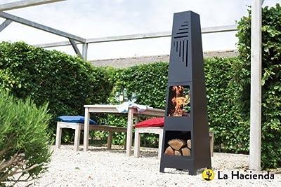 La Hacienda Vela Black Steel Garden Chiminea With Laser Cut Design 150cm High by La Hacienda