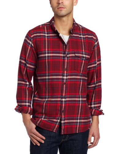 lucky-brand-chemise-casual-manches-longues-homme-rouge-x-large