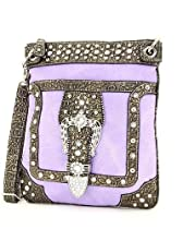 Western Rhinestone Buckle Messenger Handbag
