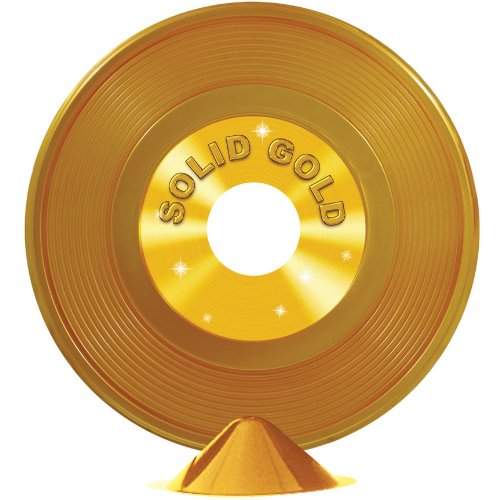 Gold Plastic Record Centerpiece Party Accessory (1 count) (1/Pkg)