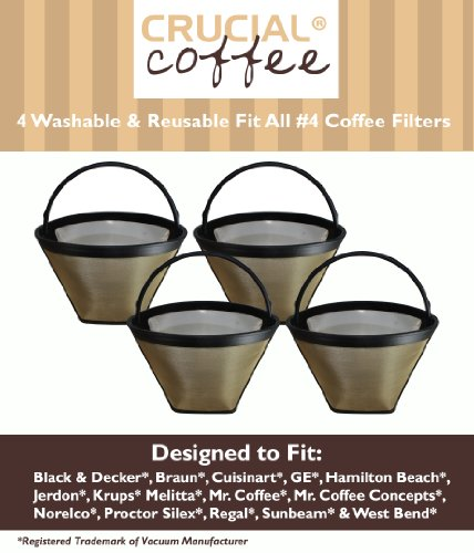 4 Washable & Reusable Coffee Filters # 4 Cone Fit Black & Decker, Braun, Cuisinart, GE, Hamilton Beach, Jerdon, Krups, Melitta, Mr. Coffee, Mr. Coffee Concepts, Norelco, Proctor Silex, Regal, Sunbeam & West Bend; Designed & Engineered by Crucial Coffee