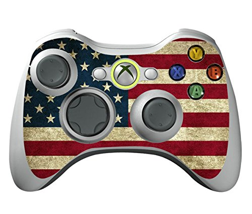 TQS™ Leather Texture Surface Designer Skin Sticker Decal for Xbox 360 Remote Controller - Battle Torn Stripes new star wars power stormtrooper skin sticker for xbox one console 2pcs controller skin kinect protective cover