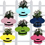 Set Of 6 - Bee Planters Light Pink,Yellow,Blue ,Green,Pink,Teal