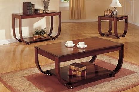 Beautiful 3-pc Coffee Table Set in Dark Cherry Finish PDSF60016 F60017 F60018