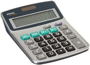 AmazonBasics Calculatrice 8 caractères Alimentation solaire/piles Argent