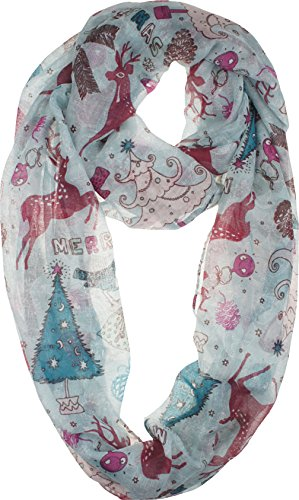 Vivian & Vincent Soft Light Elegant Merry Christmas Sheer Infinity Scarf C4