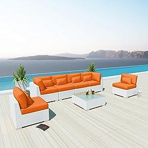Modenzi 7G Outdoor Sectional Patio Furniture White Wicker Sofa Set (Orange) from Modenzi