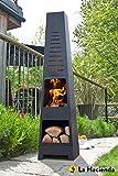 La Hacienda Skyline Black Steel Garden Chiminea With Laser Cut Design 150cm High