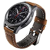 Maxjoy for Gear S3 Bands, S3 Frontier/Classic Watch Band 22mm Genuine Leather Strap Soft Replacement Wristband Bracelet with Stainless Steel Buckle Clasp for Samsung Gear S3 Sport Smart Watch, Brown