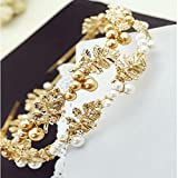 Women Sparkle Pearl Leaves Lady Forehead Hair Band Headpiece Hair Accessories (White Pearl)