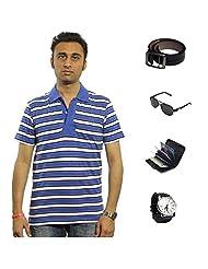 Garushi Blue T-Shirt With Watch Belt Sunglasses Cardholder - B00YMLUZZS