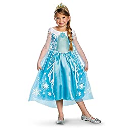 Disguise Girls Disney Frozen Elsa Deluxe Costume, X-Small/3-4 Tall