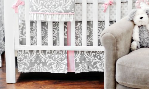 New Arrivals Stella Gray 2 Piece Crib Bedding Set, Grey