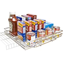 Shelf on Rails Expandable Chrome Plated Pantry Pull Out Shelf, 16 by 12-Inch