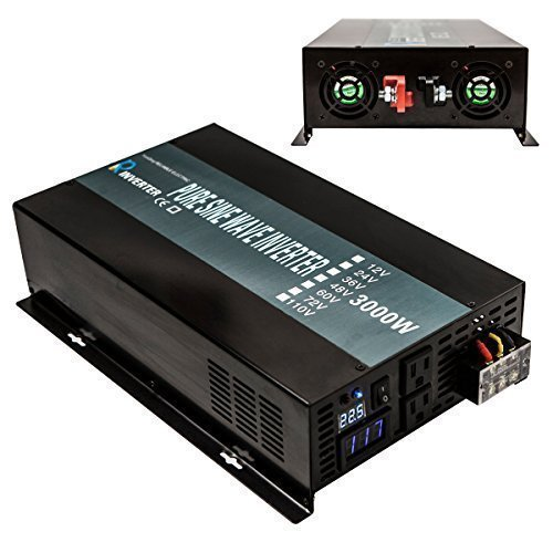 Reliable RBP-3000S-LED 3000w Pure Sine Wave Solar Power Inverter 24v 120v 60hz With LED Display (Black) (Dc Air Conditioner No Inverter compare prices)
