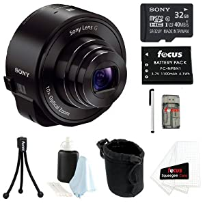 Sony DSC-QX10 18MP Smartphone Interchangeable Attachable Lens-Style Camera with 10x Optical Zoom and NFC/ Wi-Fi in Black + Sony 32GB Class 10 microSDHC + Replacement NP-BN1 Battery + Carrying Case + Stylus + Focus Multi Card Reader + Accessory Kit