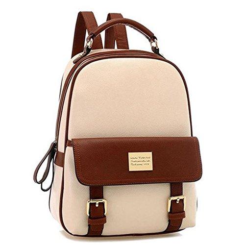 Your Gallery Retro Student Faux Leather Schoolbag Shoulder Bag Travel Preppy Rucksack, beige image