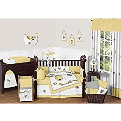 Sweet Jojo Designs Honey Bumble Bee Hive Yellow, Gray and White Unisex 9pc Baby Girl or Boy Crib Bedding Set
