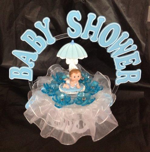 Boy Baby Under Umbrella And An Arch Shower Cake Top Decoration Centerpiece front-913185