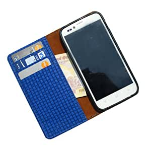i-KitPit PU Leather Wallet Flip Case For Lava Xolo A800 (BLUE)