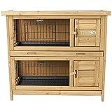 Kaninchenstall / Hasenstall EMMA auf 2 Etagen - 92x45x81 cm - Kleintier-Stall für Draußen. Der wetterfeste, doppelstöckige Stall für 2 Kaninchen - TIMBO Hasenkäfig und Hasenstall -