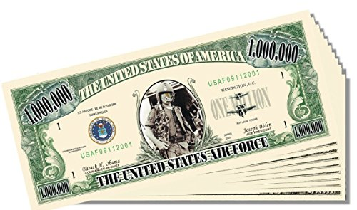 Military - Air Force Novelty Million Dollar Bill - 10 Count with Bonus Clear Protector & Christopher Columbus Bill