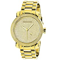 Luxurman Mens Diamond Watch 0.12ct Yellow